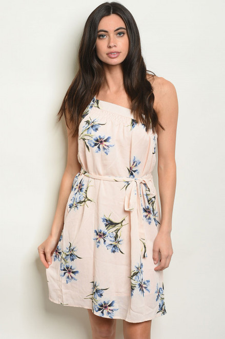ONE SHOULDER SMOCKED PALE PEACH FLORAL TUNIC DRESS (46-27)