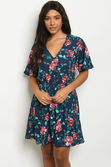 SHORT SLEEVE V NECK NAVY STRIPE FLORAL DRESS (46-30)