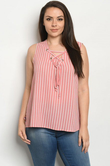 SLEEVELESS LACE UP V-NECK ROSE STRIPES PLUS SIZE TOP (46-33)