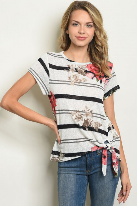 SHORT SLEEVE ROUND NECK IVORY FLORAL KNOT WAIST TOP (46-36)