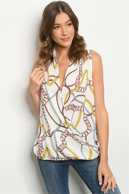 CROSSOVER OFF WHITE CHAIN PRINT TOP (46-40)