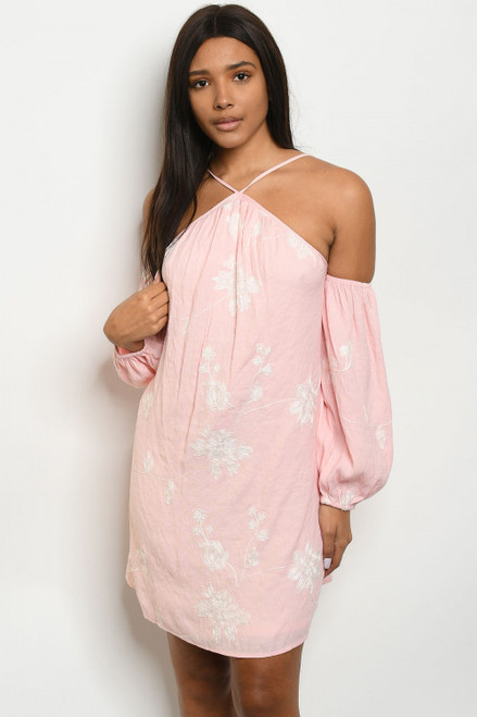 COLD SHOULDER PEACH EMBROIDERY WHITE FLORAL TUNIC DRESS (46-42)