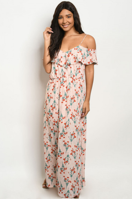 OFF THE SHOULDER PEACH w/FLOWERS PRINT MAXI DRESS (46-46)
