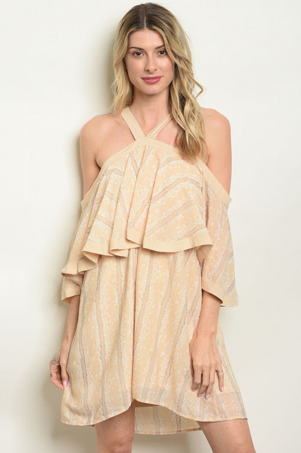 COLD SHOULDER 3/4 SLEEVE LOOSE HALTER TUNIC BUTTER-CREAM DRESS (46-47)