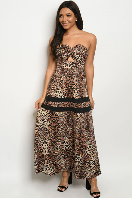 SEXY STRAPLESS TUBE TOP LEOPARD PRINT MAXI DRESS (46-49)
