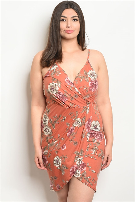 SLEEVLESS SEXY TANGERINE FLORAL PLUS SIZE BODYCON DRESS (46-53)