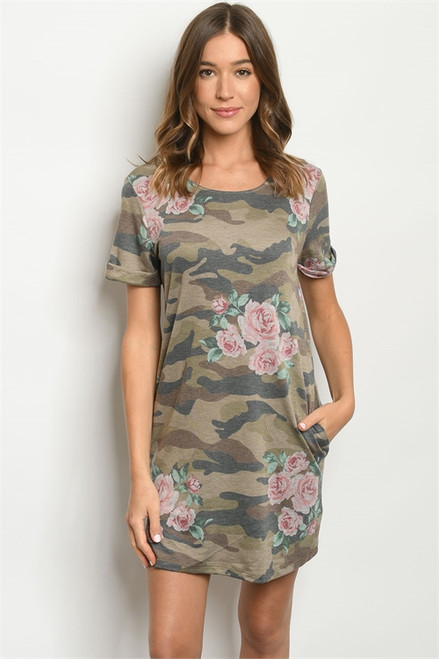 SHORT SLEEVE CAMOUFLAGE w/FLORAL SHIFT DRESS (47-1)