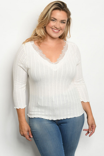 PLUS SIZE 3/4 SLEEVE IVORY PLUS SIZE RIBBED TOP (47-4)