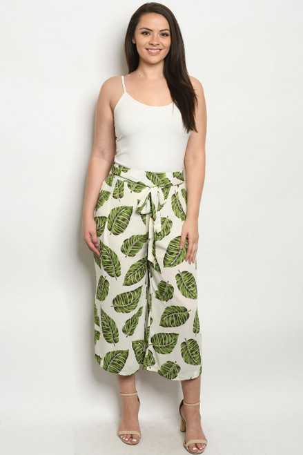 LIGHT WEIGHT IVORY TROPICAL LEAVES PLUS SIZE PANTS (47-7)
