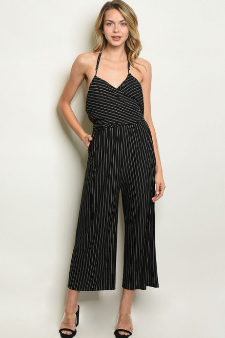 SLEEVELESS STRAPPY-HALTER BLACK & WHITE STRIPE JUMPSUIT (47-11)