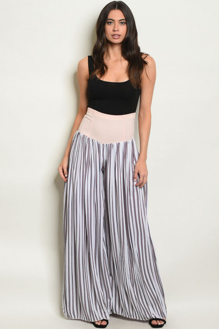WIDE LEG WHITE & ICE PEACH STRIPES PALAZZO PANTS (47-15)