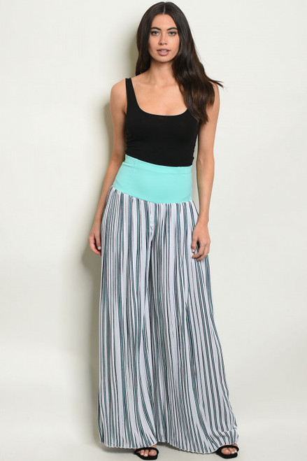 WIDE LEG WHITE & COOL MINT STRIPES PALAZZO PANTS (47-16)