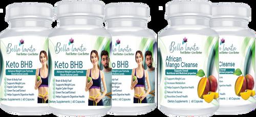 5-Pack KETO BHB & AFRICAN MANGO BUNDLE & SAVE 30% + Free Shipping