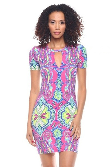 SHORT SLEEVE BODYCON MULTI COLOR ABSTRACT PRINT DRESS (48-1)