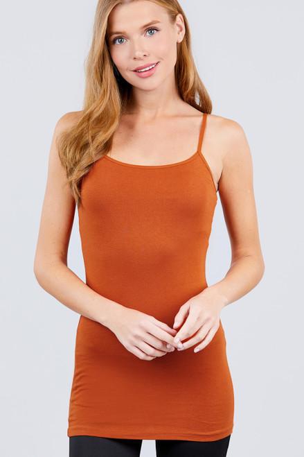 Basic Adjustable Spaghetti Strap Tunic Cami W/ Shelf Bra - Spicy Rust
