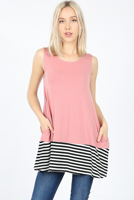 SLEEVELESS ROUND NECK TOP LOOSE w/SIDE POCKETS STRIPED & SOLID  Dusty Rose