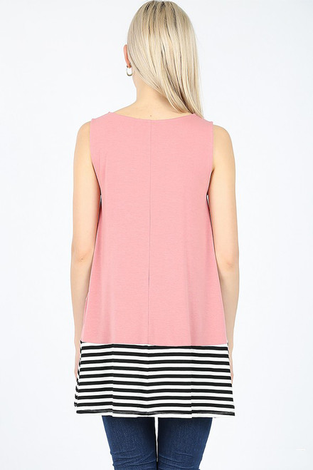 SLEEVELESS ROUND NECK TOP w/SIDE POCKETS STRIPED & SOLID Lt Olive