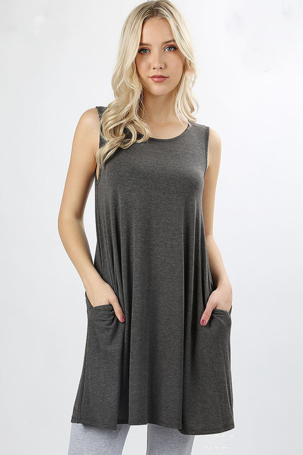 PLUS SLEEVELESS ROUND NECK TUNIC w/SIDE POCKETS-CHARCOAL