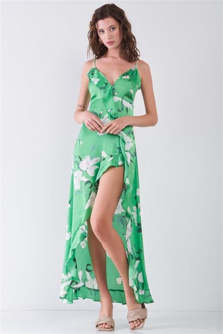 Satin Green & White Floral Print Sleeveless V-neck Self-tie Back Ruffle Trim Side Slit Detail Maxi Dress