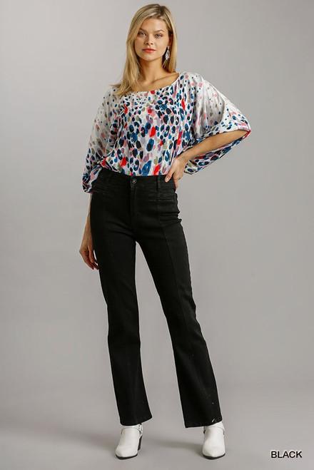 Plus Size Black Panel Straight Cut Denim Jeans w/Pockets