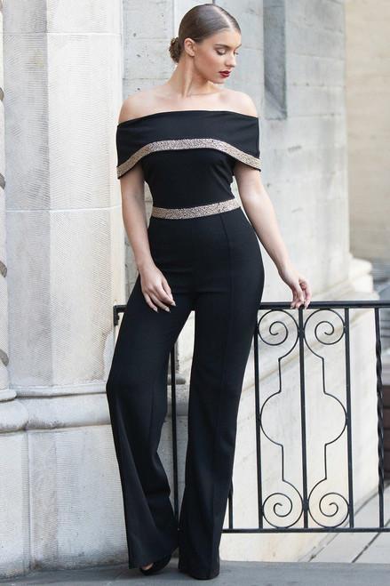 Elegant Black Off Shoulder Jumpsuit w/Beaded Detail