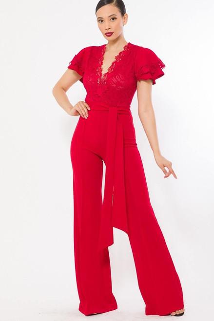 Deep V Crochet Lace  Bodice w/Belt Sash Red Flare Pant Leg Jumpsuit