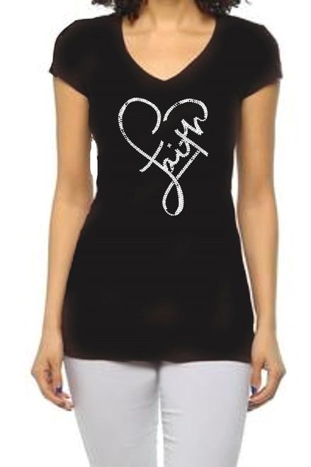 """Faith"" Ab Crystal Rhinestone Graphic Tee-Black"
