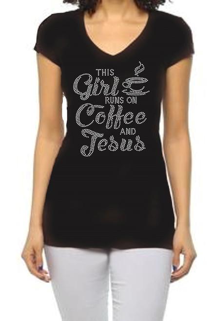 """This Girl Runs on Coffee & Jesus"" Crystal Rhinestone Graphic Tee-Black"