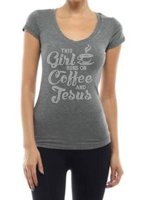 """This Girl Runs on Coffee & Jesus"" Crystal Rhinestone Graphic Tee-Heather Grey"