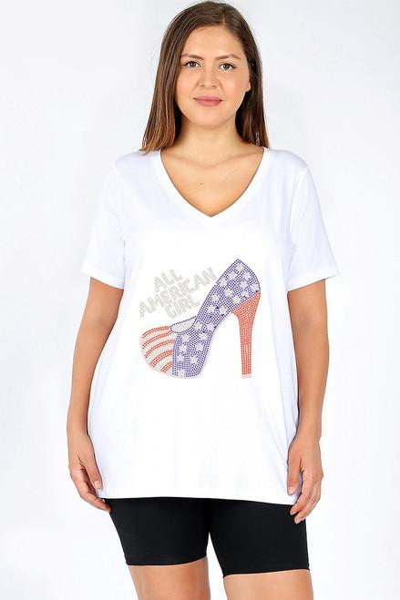 """All American Girl"" w/American Flag High Heel Rhinestone Graphic Tee-White"