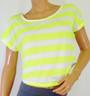 Short, Striped Tee in Yellow and White Stripes.  (A-60)
