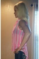 Chiffon Button Down Top with Neon Pink Stripes! (A-191)