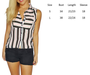 Sleeveless, Pleated Buttondown Top with Black & Pink Stripes! (B-12)