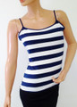 Tank Tops / Camis. 95% Cotton, Amazing Feel! Navy Blue & White Stripes!  (B-193)