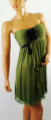 Strapless Chiffon Tube Dress! Olive Green with Black Flower.  (B-11)