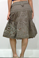 SKIRTS. Olive Green,  80% Cotton Skirt with Embroidery.  (E-35)