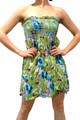 100% Cotton Strapless Sundress! Green Floral.  (E-133)