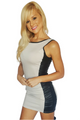 Bodycon Dresses with Faux Leather Side Panels! Beige.  (B-56)