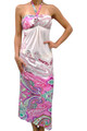 Maxi Dress Halter White w/Fuchsia Paisley (C-160)