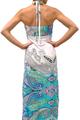 Maxi Dress Halter | LOVE 4 LUCK! White w/Turquoise Paisley (C-159)