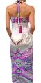 Maxi Dress Halter White w/Purple Paisley (C-161)