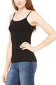 ** FLASH SALE ** 95% Cotton Cami with Spaghetti Straps. Solid Black.  (E-104)