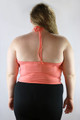 PLUS SIZE Spaghetti Halter Top with Tribal/Aztec Embroidery! Peach.  (A-95)