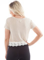 Plus Size Beige w/Ivory Lace Trim Top (B-99)