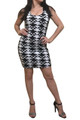 92% Cotton! Hi-Cut, Geo Pattern Black & White Bodycon Dress.  (C-169)