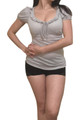 Grey Cotton Short Sleeve Top has Boho-Chic Lace Tie in Front!  (B-148)