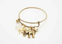 Charm Bracelet with Elephant, Pearl, and Lucky 4-Leaf Clover! Color: Gold/Bronze.  (G-37)