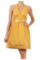 100% Cotton! Mustard Yellow Halter Dress with Belt!  (D-32)