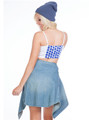 Blue & White Polka Dot Bustier / Corset with Zipper!  (A-61)