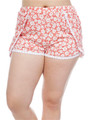 Plus Size Coral Pink Floral Challis Shorts with Lace!  (E-17)